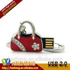 Newest Fashion Convenient Bag Chian Mini Red Crystal Handbag shape 32GB USB Flash Drive