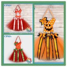 Cute Lovely Hot Sale Halloween Orange White Polk Dots Pumpkin Tutu bow holder Hair Bow Holders Wholesale