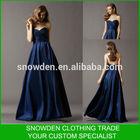 Elegant Deep Blue Floor Length Sleeveless Sweetheart Pleated Satin Country Style Bridesmaid Dress