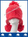 tampão relativo à promoção de outono e inverno ouvidos protecção personalizado gorro de lã de malha fabricante de peles pompons chapéu do inverno da senhora com alibaba