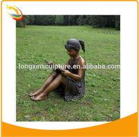 Garden Decor Bronze Statue of Girl Reading Book