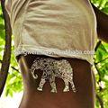 metallico oro tatuaggi temporanei con elefante