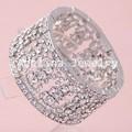 prezzo di fabbrica di cristallo regolabiliin argento placcato braccialetto manetta
