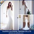 2015 confortável fascinante uma linha v pescoço curto casamento trem vestido de manga comprida