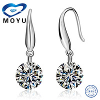 Wholesale Elegant Jewelry Single Stone Design Earring For Woman,Made of Real 925 Sterling Silver Crystal earring