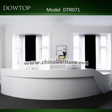 White artificial marble half round reception table design