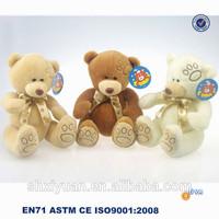 High quality soft 3 color washable teddy bears/toys with bow tie/embroidery teddy bear