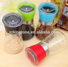 OEM and ODM manual pepper grinder spice grinder with colorful lids