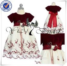 FG007 Embroidery Kid Velvet Red And White Flower Girl Dress Patterns Free
