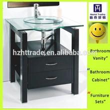 Hangzhou 28'' modern small bathroom furniture set black wood cabinet + sliver mirror + clear tempered glass basin