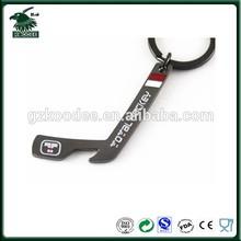 2015 new design cheap gifts hockey stick shape zinc alloy bottle opener keychain
