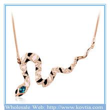Italina 18K gold-plated guard snake shape crystal necklace 2014