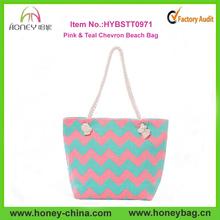 Ladies Monogram Canvas Tote Bag Pink & Teal Chevron Beach Bag