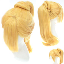 Cartoon Middle Apart Bangs 80cm Straight With Clips Heat Resistent Fiber Sythetic Golden Wigs PL-272