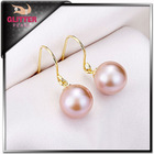 AAA 9-10MM elegant 925 sterling silver round pearl drop earrings