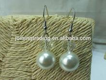 Imitation Pearl and Glass Bead Dangle Earrings