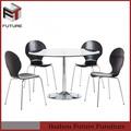 muebles para el hogar moderno de vidrio y cromo mesa de comedor y sillas