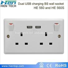 2014 hot selling products in Europe UK standard USB wall socket and EU standard USB socket