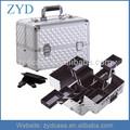 Con llave de mano de maquillaje de viaje de tren de aluminio caso del artista organizador de cosméticos caja zyd-hzmmc026