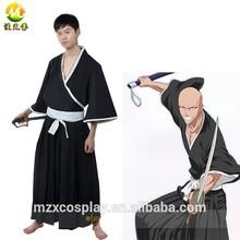 Bleach Ikkaku Madarame Cosplay Men Black Japanese Kimono Dress For Halloween Party Custom Made