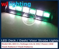 Green +White Dual Color 18 LED Strobe Dash/ Deck/ Windscreen Light Bar Beacon
