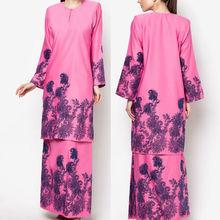 wholesale muslim dress long sleeve ladies rose red print model baju kurung modern