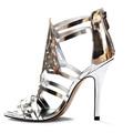 2015 la moda de milán nuevo diseño de espejo de oro tacones de aguja de la pu zapatos de tacón alto vestido de las mujeres zapatos de tacón alto moda mujer sandalias