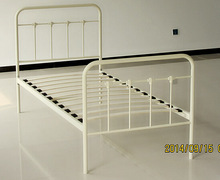 2015 new design cheap single round tube metal bed