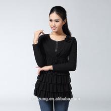 Fine ladies female long-sleeved fashion design lady blouse printed chiffon blouse fashion chiffon blouse SADB0046BL