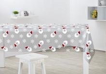 PVC christmas table cloth with santa claus , vinyl table cloth with flannel back for christmas