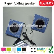 2014 hot sale Christmas day promotion gift customized folding paper speaker mini speaker