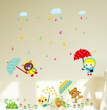 DIY Fun In The Rain 3D Wallpaper For Home Decoration