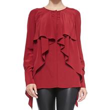 custom ladies tops fashion latest design red mini ruffle women chiffon blouses