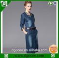 Yeni tasarım moda 3/4 uzun kollu yıkanmış kemer Bonnie cep desenleri denim kot elbise