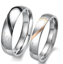 Silver plated 316L stainless steel wedding ring set for couple FQ-9034