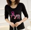 Pink high heel shoe motif womens t shirt with rhinestone transfer,100 cotton tshirts manufacturers china