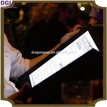 light club and hotel preferred illuminated backlit menu (Patent 2014-2-0239452.0)/ LED menu covers / menu holder for sale