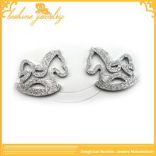 Ladies Shiny Stud Horse Shaped Earrings