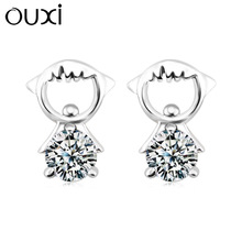 OUXI 2015 fashionable 925 Sterling Silver fashionable cute girl earing made with Swarovski elements Y20255