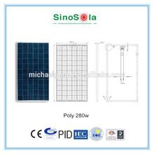 280W poly PV Solar panel with IEC,TUV,CE,CEC,CQC,PID.cert