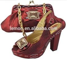 2014 new design matching Italian shoe and bag set (JB07-4)