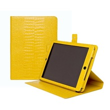 Lemon color serpentine embossed calf leather tablet pc case