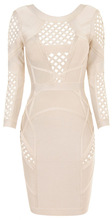 FH B27 Low back sexy see through latest beige evening dresses long sleeve