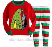 Algodão de manga comprida meninas meninos bebê kidschildren define vestuário ternos pijama 2 peça 2 - 7 anos de idade sleepwear moda pai natal