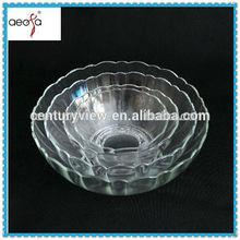 cheap fancy flower shaped clear glass soup bowl pieces