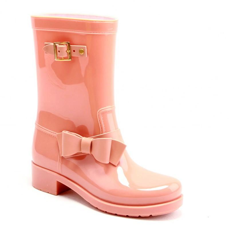 oem bowknot design your own boots pvc tranaparent