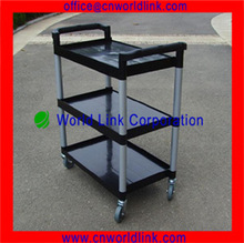 3 Layers 4 Wheels Plstic Hotel Service Trolley Cart