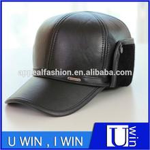 Men's winter black leather cap