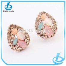 Wholesale fashion cute fresh color tear drop earring