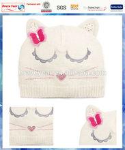 sleeping cat's face girls knitting hat/child animal hat